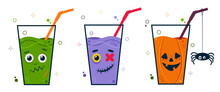 Halloween Party Cocktail Set With Scary Cute Character Faces. Drink With A Straw. Cartoon Illustration Isolated On White Background.