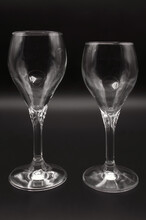 Two Crystal Glasses, For Wine, Water, One Larger, Standard Chalice, Long Thick Stem, With Standard Circular Base, Glass Container,