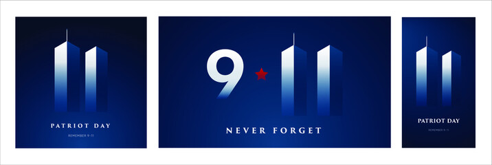 Fototapeta Boks 9/11 Patriot Day banner. USA Patriot Day card. September 11, 2001. We will never forget you. Vector design template for Patriot Day.