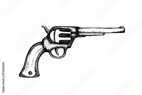 Cuadros en Lienzo hand gun pistols for wild west icon sketch hand drawn illustration isolated with