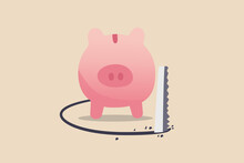 Financial Mistake, Investment Risk And Money Loss In Economic Crisis Or Robbery And Fraud Concept, Wealthy Pink Piggy Bank Being Sawed Under Neath The Floor To Steal Money.