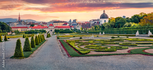 Panoramic spring view of Belvedere park, built by Johann Lukas von Hildebrandt for Prince Eugene of Savoy with Town Hall and Maria Heimsuchung Catholic church on background, Vienna, Austria, Europe Fototapet