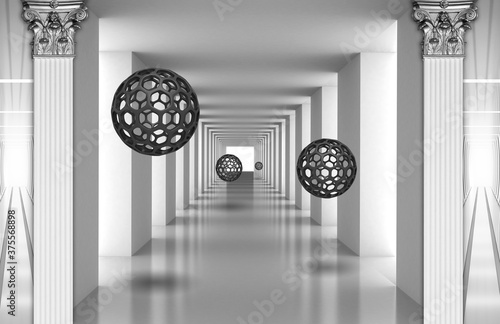Obrazy do sypialni  3d-mural-digital-illustration-silver-tunnel-with-sphere-and-columns-modern-rendering-gray