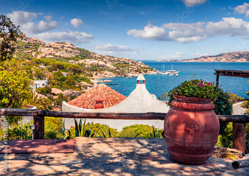 Exotic morning view of small port of Rafael with mediterranean style roofs Fototapete