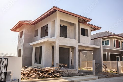 New residential house contemporary style building in progress at construction si Fotobehang