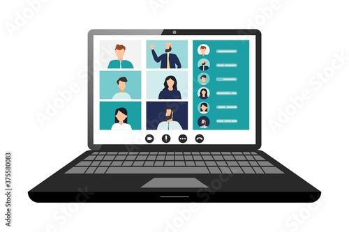 фотография Remote working with a business meeting held via a video conference call