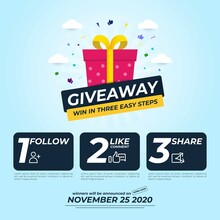 Giveaway For Social Media Post With 3 Steps To Win