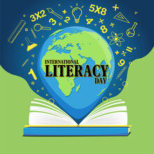 International Literacy Day Flat Illustration With The World With Open Books