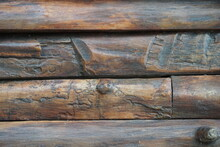 Close-up To Wooden Logs Background. Wood Texture