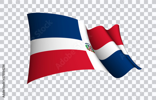 Fotografija Dominican flag state symbol isolated on background national banner