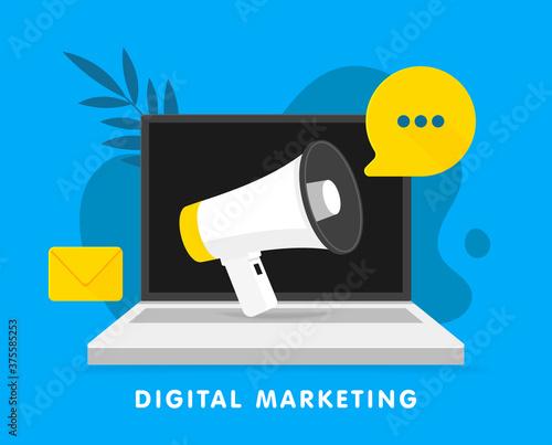 Vászonkép Announcement Megaphone on laptop