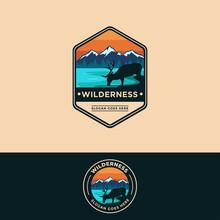 Badge Emblem Patch Wilderness Outdoor Deer On Lake Mountain Landscape Logo Vector Illustration Set