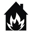 fire insurance, house, black vector icon