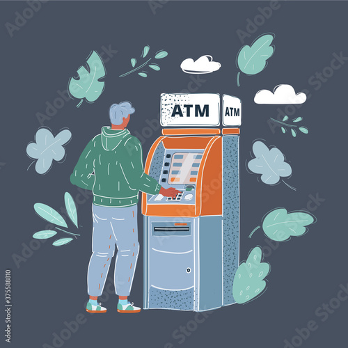 Fotomural Vector illustration of man draws out money in a cash ATM on dark background