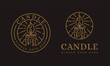 Lineart candle logo vector icon illustration on dark background
