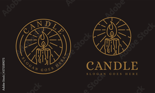 Lineart candle logo vector icon illustration on dark background Canvas