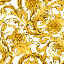 Gold Damask Seamless Pattern. Watercolor Vintage Golden Lion Ornament. Luxury Textile Print