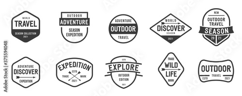 Photo Collection of banner, logo, badge or label in retro vintage style