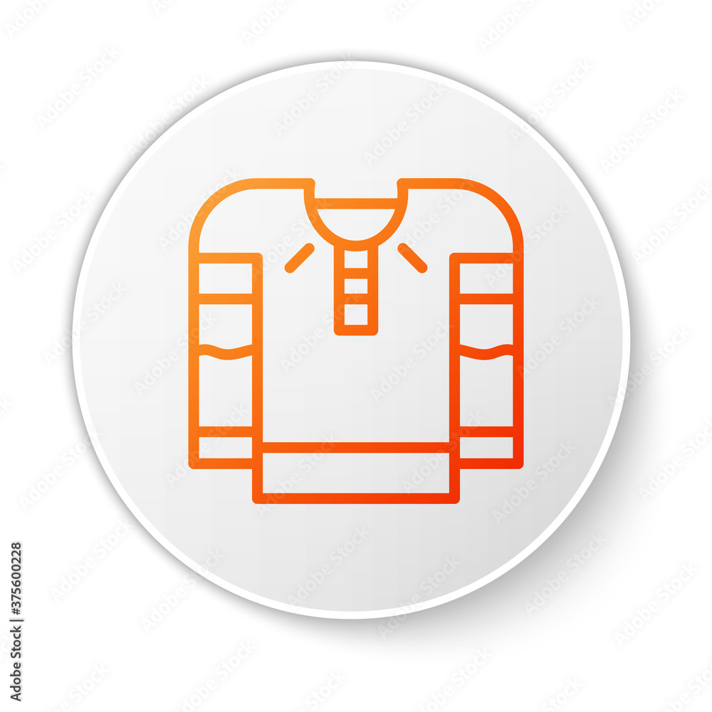 Orange line Embroidered shirt icon isolated on white background. National ukrainian clothing. White circle button. Vector.