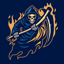 Grim Reaper Mascot With With Sickle