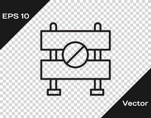 Black Line Road Barrier Icon I...