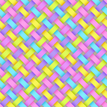Seamless Pattern Of Gradient Light Blue, Light Green, Lilac, Pink, Yellow Rectangles. Stylized Texture Of Weave.