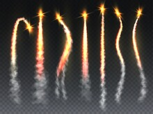 Rocket Fire Set. Missile Or Spaceship Launch Trail With Flame And Smoke. Falling Comet Or Meteor Smokey Tails Texture With Burst Isolated On Transparent Background Vector Collection