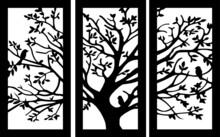 Tríptico De árbol Con Pajaros