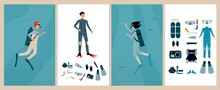Set Of Cards Or Banners For Scuba Diving With Divers Flat Vector Illustration.