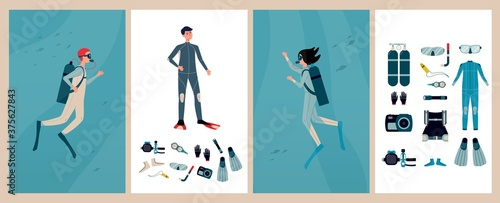 Fotografia Set of cards or banners for scuba diving with divers flat vector illustration