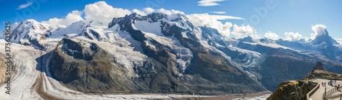 Panorama of Gorner glacier at Gornergrat, Switzerland (summer)