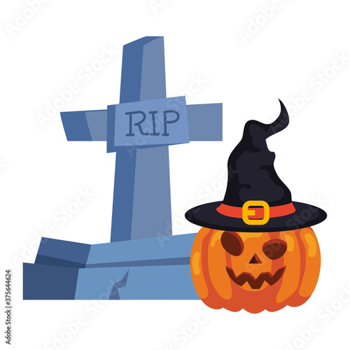 Fotografia halloween tombstone and pumpkin with hat witch in white background vector illust