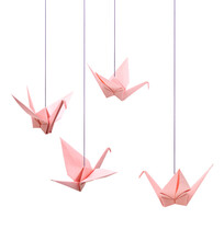 Origami Pink Bird Paper On Whi...