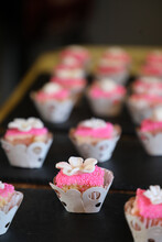 Delicate Pink Cupcake With Little White Flower On Top.