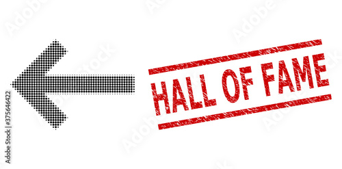 Left arrow halftone dotted vector and Hall of Fame grunge seal Canvas-taulu