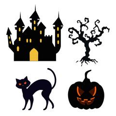 icons set of happy halloween vector illustration design