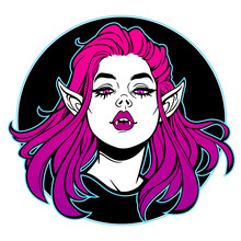 Beautiful Female Vampire Grins Showing Fangs