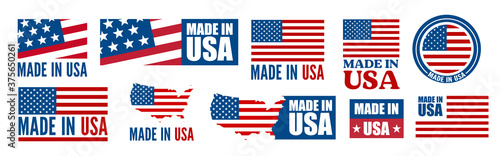 Cuadros en Lienzo Made in the USA logo or label. Vector illustration