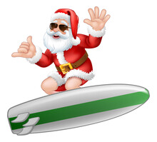 Christmas Cartoon Of Santa Claus In Sunglasses Shades Surfing On His Surfboard While Doing A Shaka Hand Sign