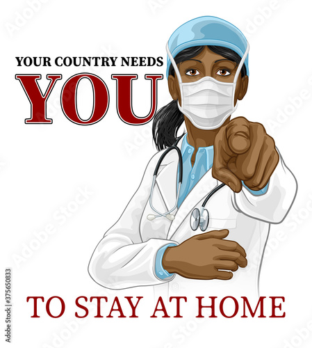 Photo A woman doctor in PPE mask pointing in a your country needs or wants you gesture