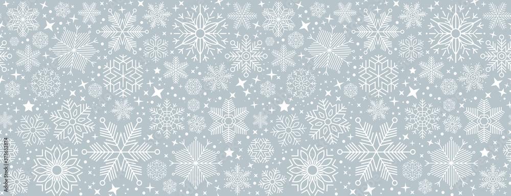 Fototapeta blue christmas card with white snowflakes vector illustration EPS10