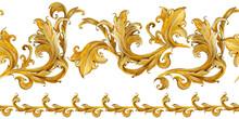 Gold Damask Seamless Pattern. Watercolor Vintage Golden Ornament. Luxury Textile Print