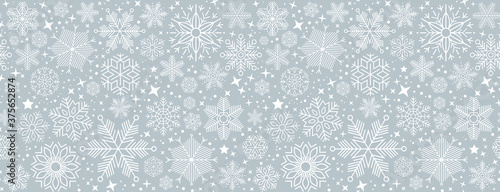 blue christmas card with white snowflakes vector illustration EPS10 - 375652874