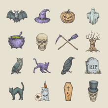 Retro Style Halloween Illustrations Collection. Hand Drawn Raven, Scull, Cat, Bat, Witch Hat And Tombstone Sketch Symbols Or Icons Set. Autumn Season Holiday Emblems Bundle.