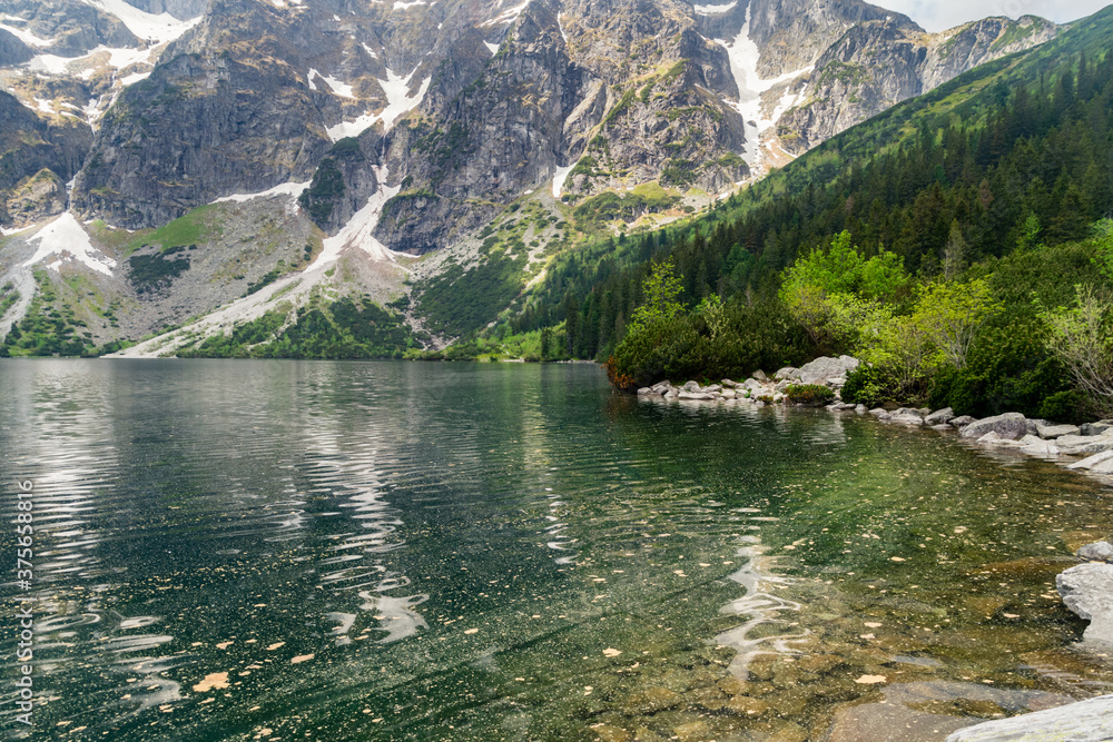 Eye of the Sea lake in Tatra mountains in the summertime.