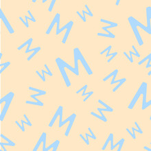 Blue Seamless Pattern With The Letter M On A Beige Background. Minimalistic Freehand Drawing Style. Background For Fabric, Wallpaper, Bed Linen. Vector Illustration.
