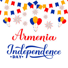 Armenia Independence Day Calligraphy Hand Lettering. Armenian Holiday Celebrated On September 21. Vector Template For Greeting Card, Typography Poster, Banner, Flyer, Etc