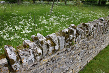 A Dry Stone Wall In Front Of A Wild Flower Meadow At An English Country Garden