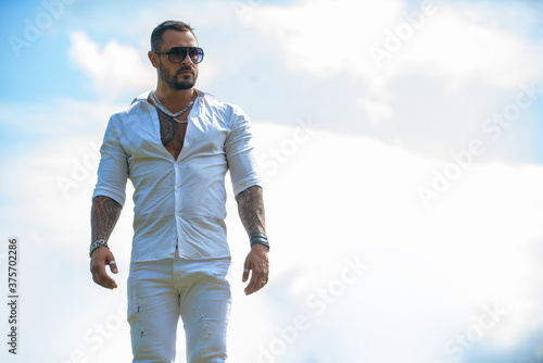 Fotografie, Obraz Portrait of attractive man with casual clothes