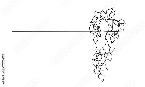 House plant in pot. Continuous one Line drawing Billede på lærred